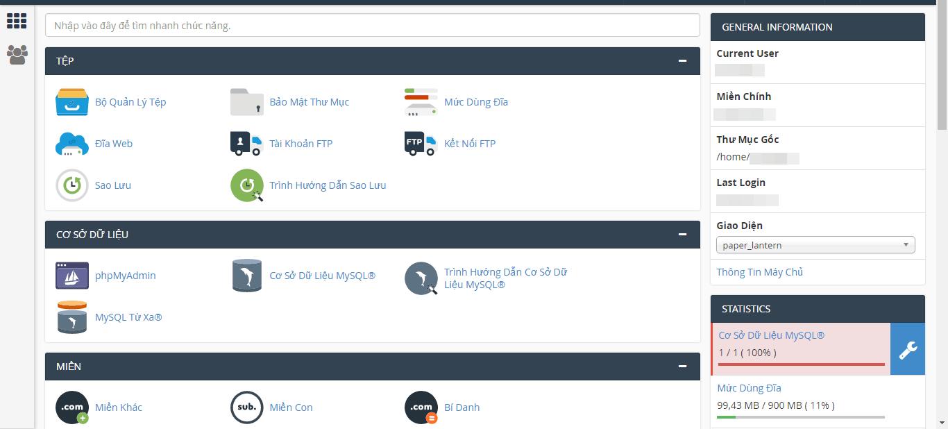 Một góc Cpanel của hosting
