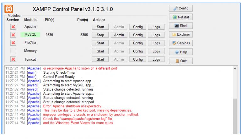 Khắc phục lỗi không khởi động được Apache của XAMPP