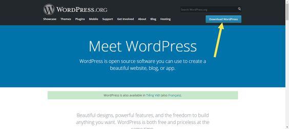 Tải mã nguồn WordPress từ trang chủ wordpress.org