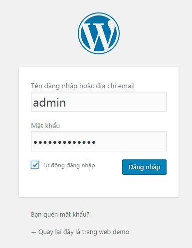 tiến hành đăng nhập, kết thúc quá trình cài đặt wordpress