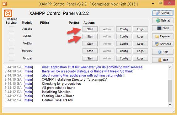 Mở phần mềm XAMPP và khởi động Apache và MySQL