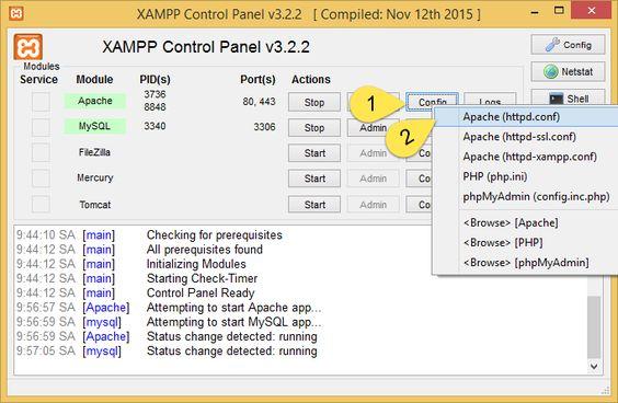 Hãy mở Httpd.conf ngay trên giao diện của XAMPP