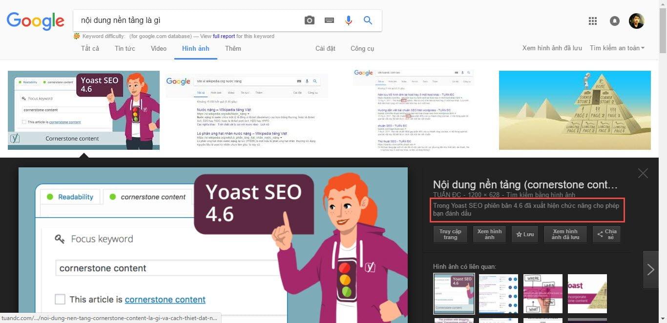 Hình ảnh hiển thị trên Google với đoạn mô tả được lấy từ thẻ Alt