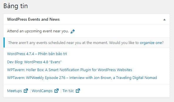 Bản tin WordPress Events and News