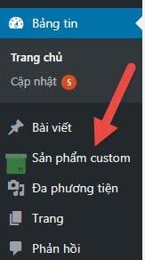 Menu bên trái xuất hiện tên và icon của custom post type mới