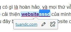 """Ví dụ mình thêm """"sssd"""" vào văn bản liên kết """"website"""" vân được được."""