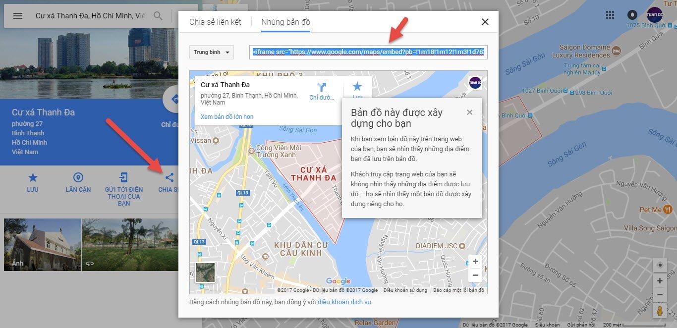 Lấy mã bản đồ doanh nghiệp chèn vào website