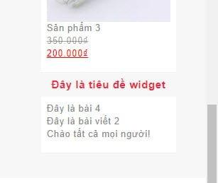 Kết quả hiển thị widget