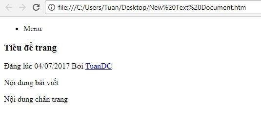 Hiển thị kế quả của một trang HTML5