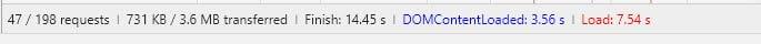 Thời gian tải trang của 1 website sử dụng 2 plugin là 7.54s