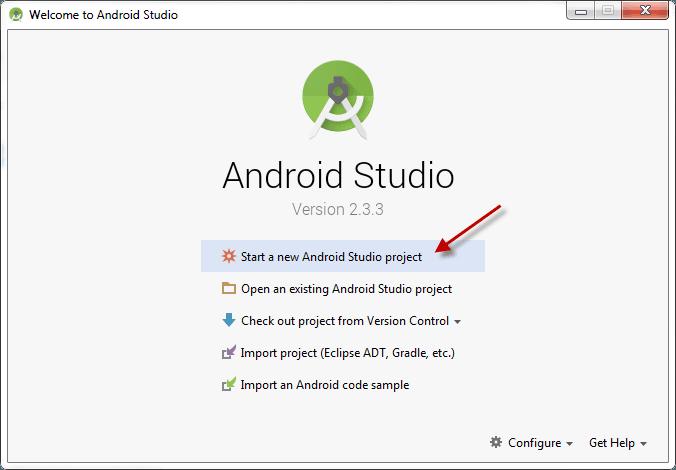 Màn hình khởi tạo Project Android Studio