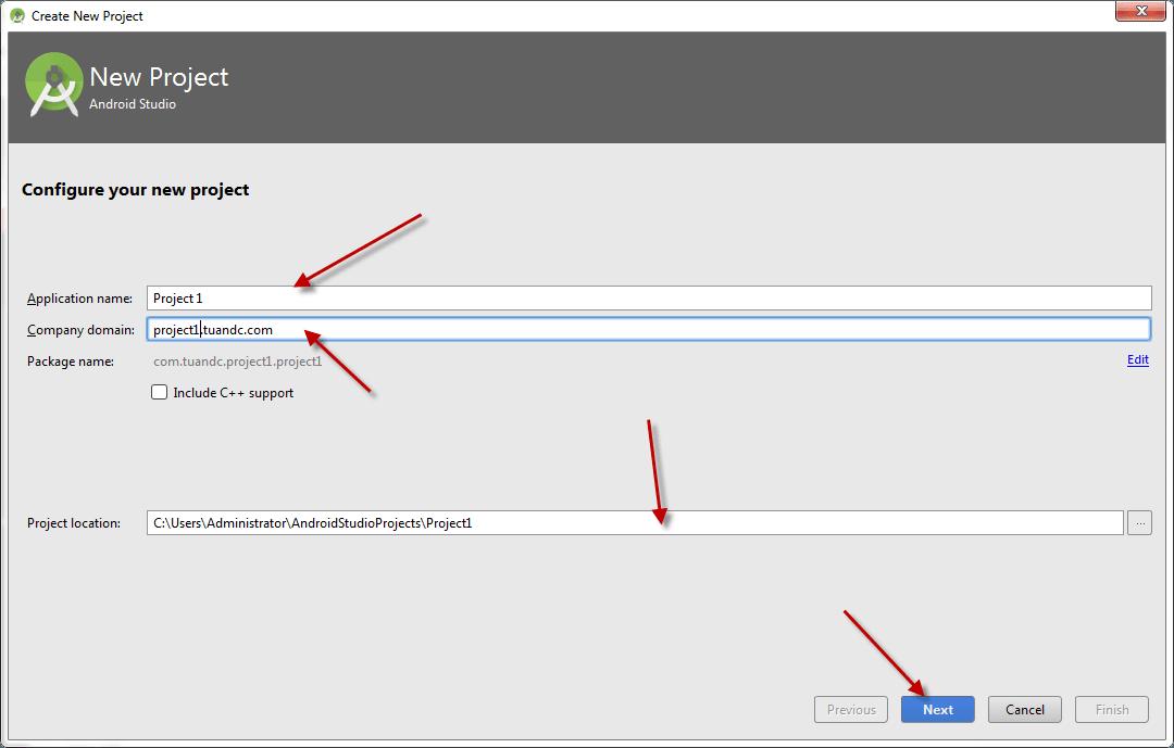 Thiết lập thông tin project