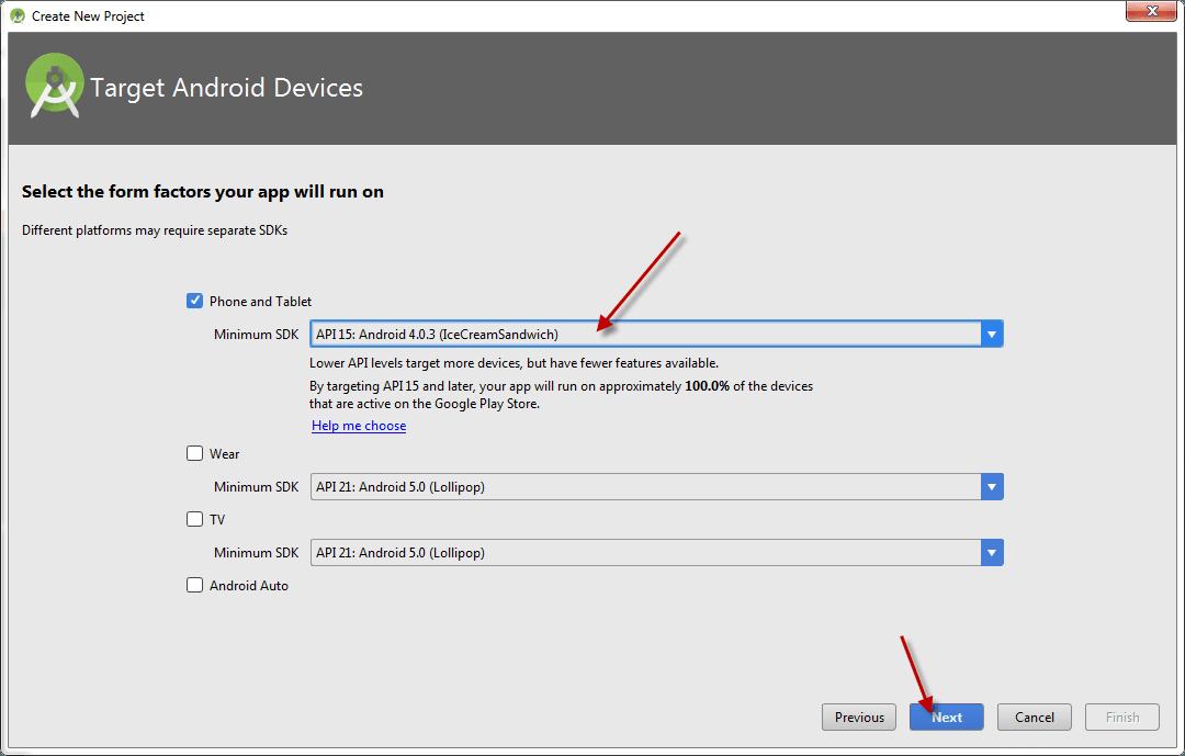 Chọn phiên bản Android có thể chạy được ứng dụng