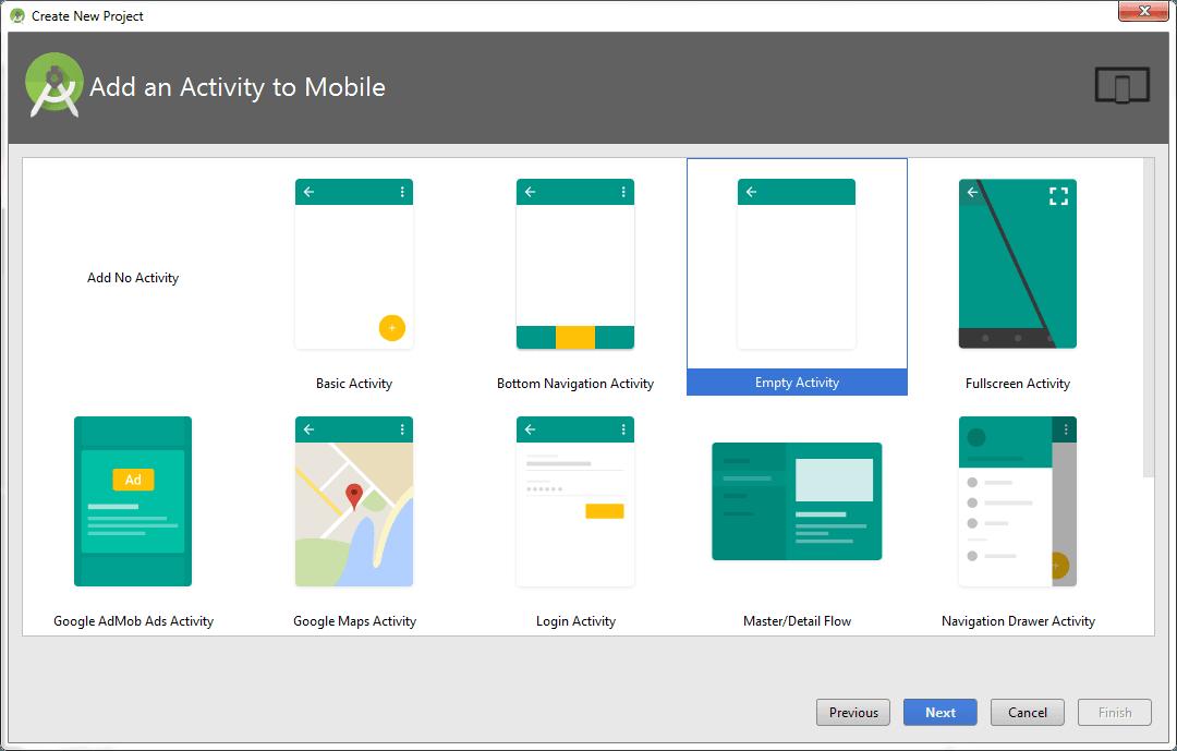 Chọn Activity muốn thêm vào Project