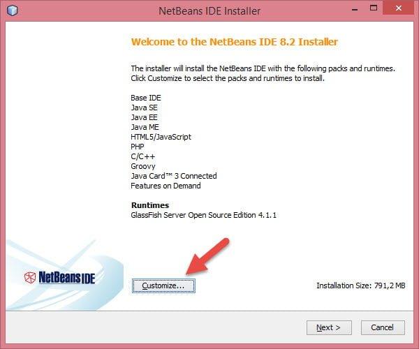 Có thể nhấn vào nút Customize để loại bỏ một số gói và runtimes không cần thiết