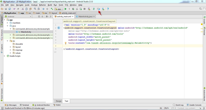 Nhấn vào nút Projects structure