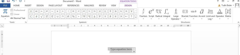 Xây dựng công thức toán học trên Word