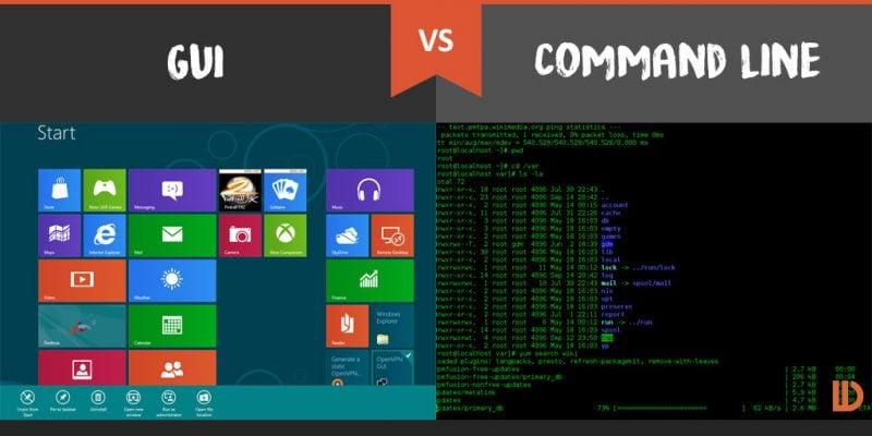 Để  giao tiếp với phần mềm, bạn có thể sử dụng GUI (giao diện người dùng) và Command Line (giao diện dòng lệnh)