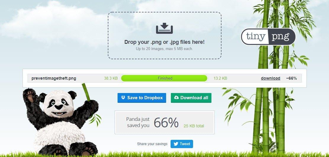 Dung lượng hình ảnh giảm hơn một nữa khi sử dụng tinypng.com