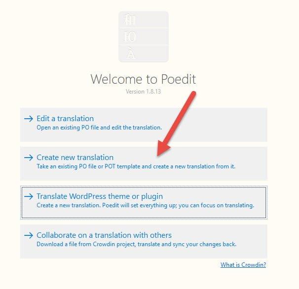 Chọn Create new translation