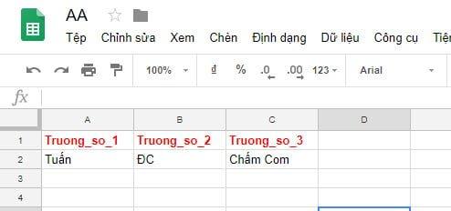 Dữ liệu lập tức được thêm vào Sheet