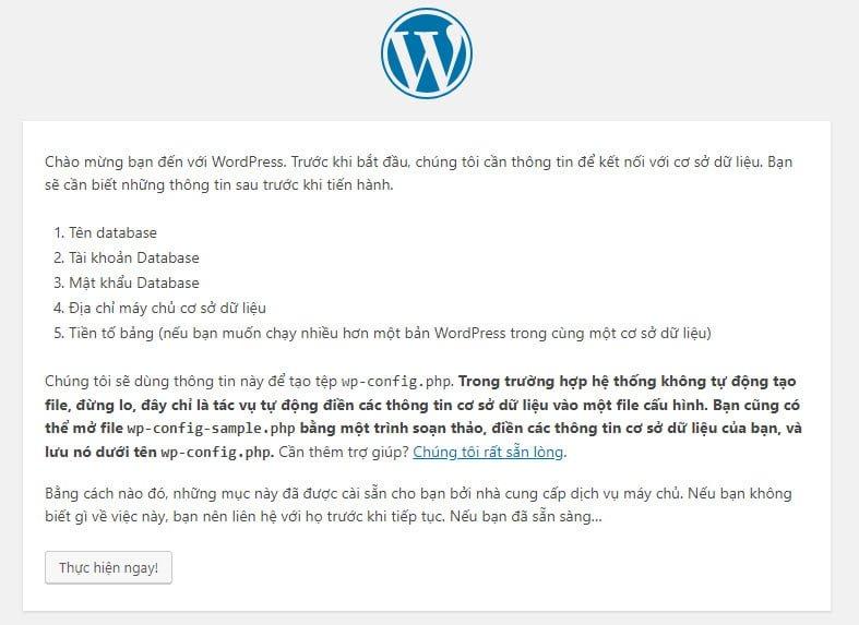 Bảng chỉ dẫn các thông tin bạn cần chuẩn bị để cài đặt WordPress