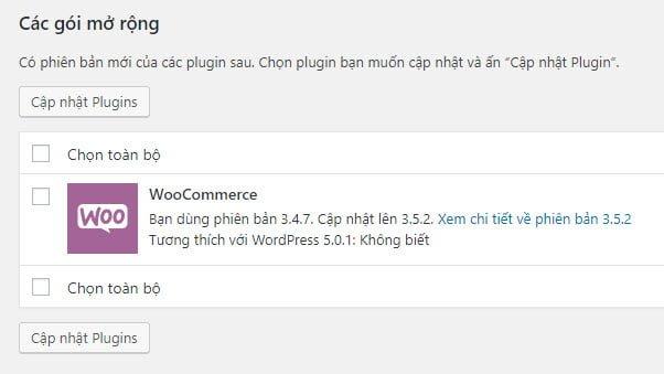 Trước khi vô hiệu hóa update, WooCommerce phiên bản 3.4.7 của mình được yêu cầu cập nhật lên 3.5.2