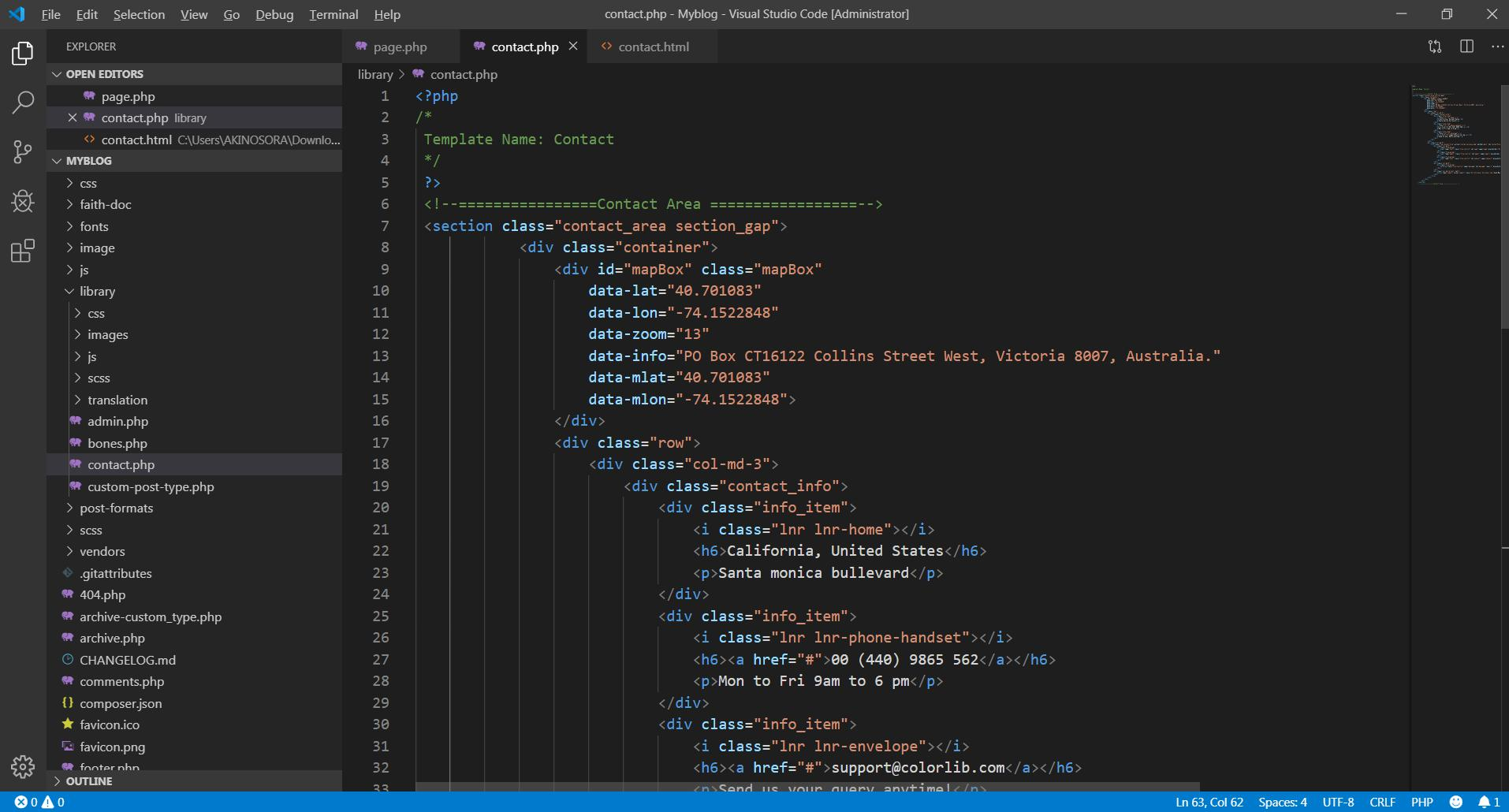Viết code cho page template